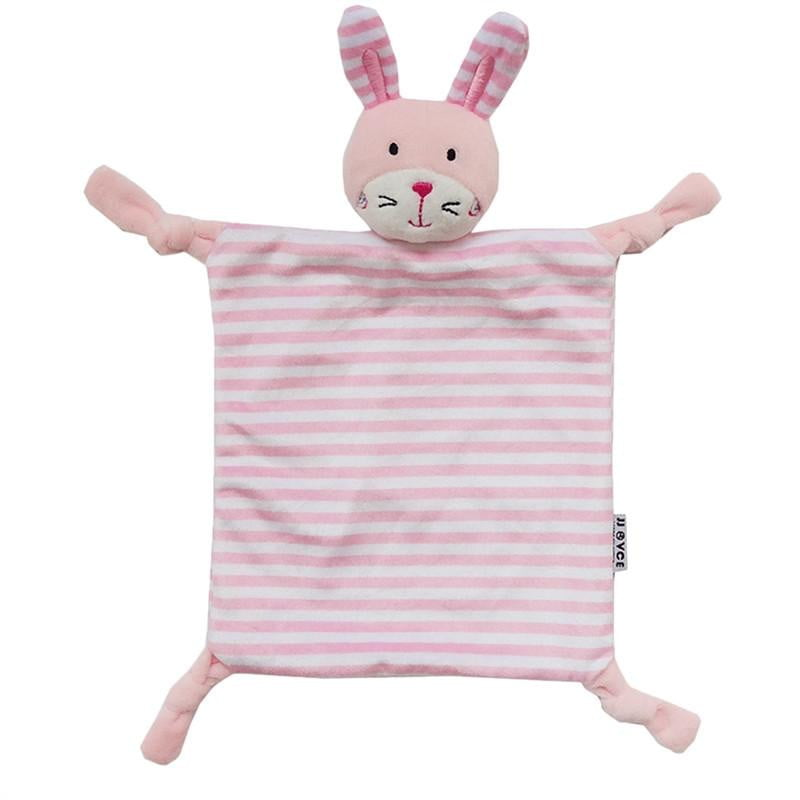 Infant Teething Cloth Soft Square Striped Plush Snuggle Teether Blanket Baby Appease Towel Toy - ourkids-shop