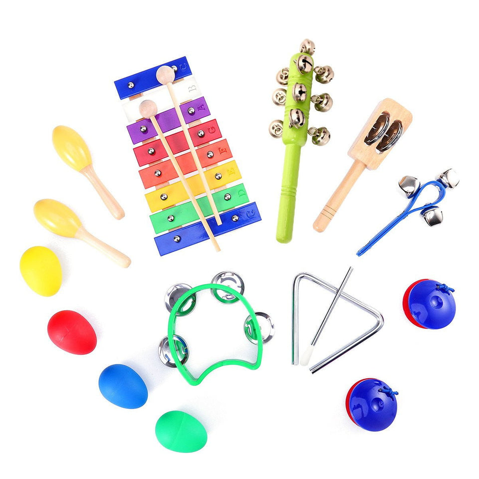 TOYMYTOY 15pcs Kids Musical Instruments Percussion Toy Rhythm Band Set Preschool Educational Tools with Carrying Bag - OurKids.Shop