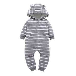Infant baby boys clothes casual Unisex newborn baby rompers Fleece stripe long sleeve hooded one piece clothing Overalls gray - OurKids.Shop