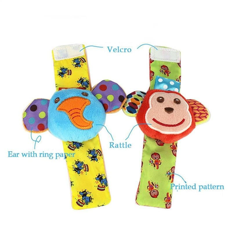 2 Pairs Baby Infant Soft Toy Animal Wrist Rattles Hands Foots Finders Developmental Toys - ourkids-shop
