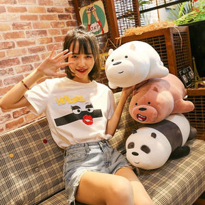 Japan We Three Bare Bears Plush Toys Panda 35cm 50cm 70cm 90cm Boy Birthday Day 1pcs Christmas Present 3D Pillow - ourkids-shop