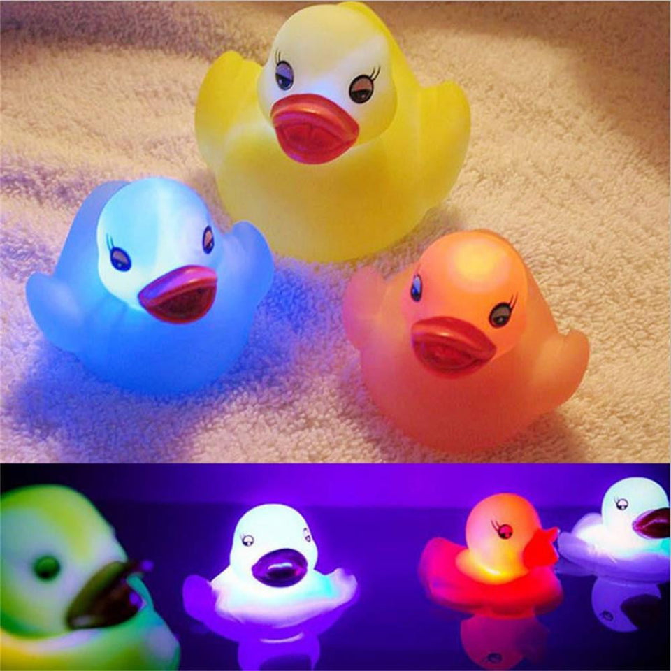 Toy Duck Baby Bath Toy Auto Color Changing LED Lamp Light Vinyl Toy Teether - OurKids.Shop