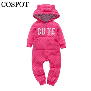 Newborn One Piece Fleece Hooded Jumpsuit Long Sleeved Red Plaid X'mas - ourkids-shop