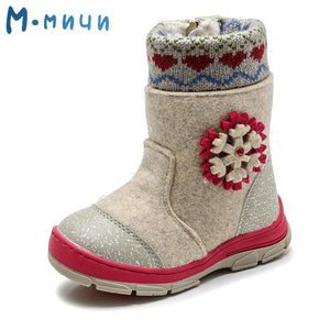 MMNUN Felt Boots baby Warm winter boots for girls Snow Boots Children Shoes kids shoes for girls Mid-Calf zip Size 23-36 ML9421 - ourkids-shop