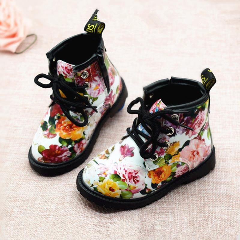 2018 Kids Girls Boots Autumn And Winter PU Leather Waterproof Boots Zip Rome Children Martin Boots Fashion Baby Girl Shoes - OurKids.Shop