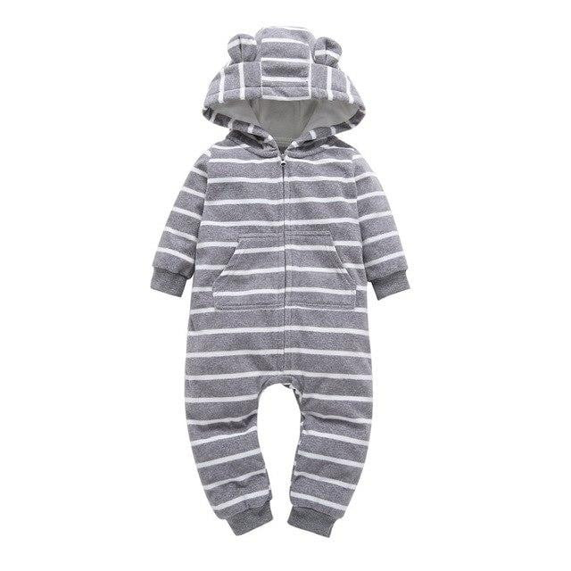 Free shipping 2018 kids boys Long Sleeve Hooded jumpsuit Newborn Boy winter one piece clothes Baby Bear Romper Ski Jumpsuit
