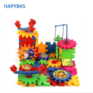 Educational 81 Pieces Electric Magic Gears Building Blocks 3D DIY Plastic Funny Toy Mosaic Toys For Children New Sale