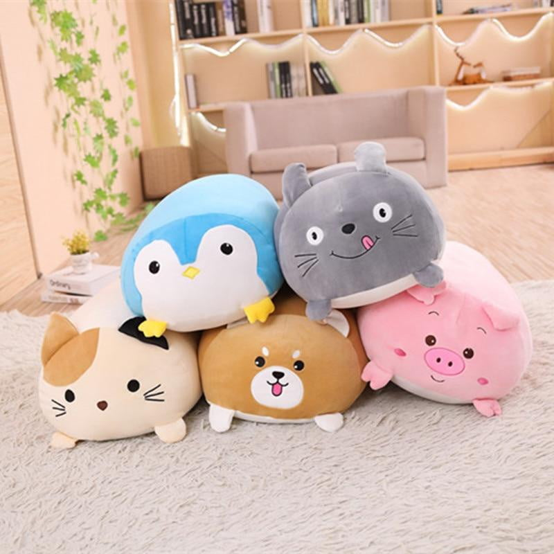 Plush Toy Stuffed, Soft Animal Cartoon Pillow Cushion Cute Fat Dog Cat Totoro Penguin Pig Frog