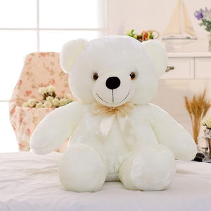 Music glowing teddy bear figurine white color hugging bear plush toy gift
