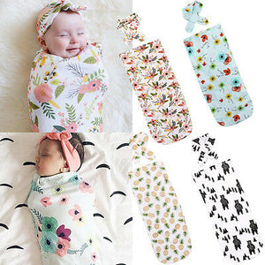 Emmababy 2Pcs/Set ! Newborn Fashion Baby Swaddle Blanket Baby Sleeping Swaddle Muslin Wrap Headband