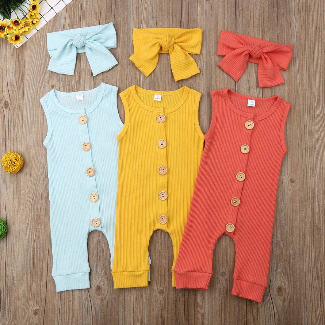 Newborn Infant Baby Girl Boy 2pcs Outfit Romper Jumpsuit Bodysuit Clothes Set  Autumn Spring  Headband 0-18M 2pcs Cotton - ourkids-shop