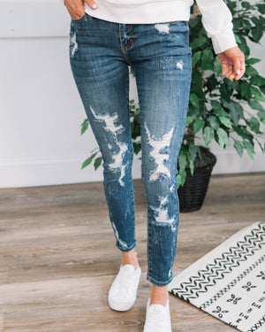 Mid Rise Heavy Destroyed Skinny Jean