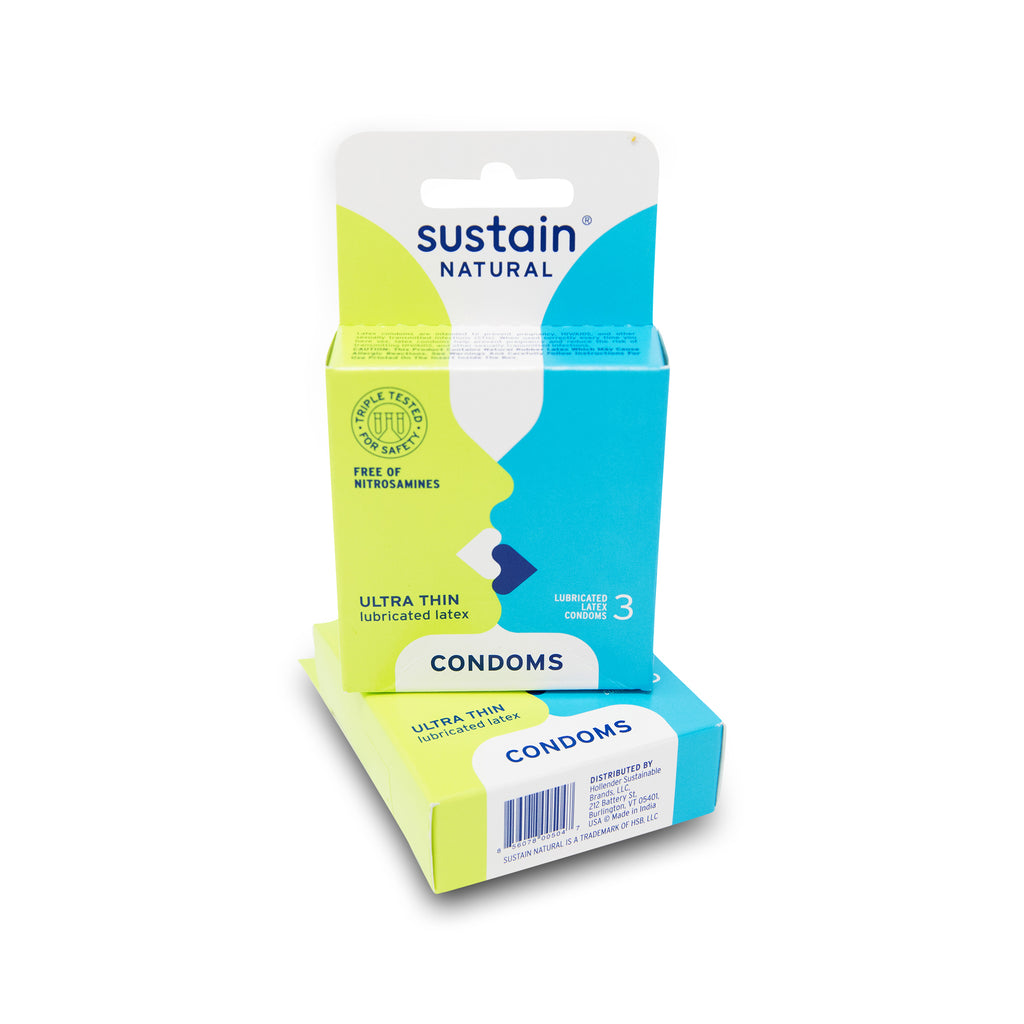 Sustain Natural Ultra Thin Latex Condoms 3 Pack
