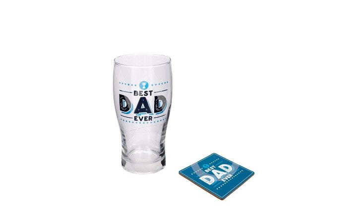 Best Dad Ever pint and coaster set