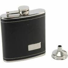Stainless Steel Real black leather Hip Flask for Dad/Grandad