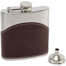 Stainless Steel Real leather Hip Flask Brown for Dad/Grandad