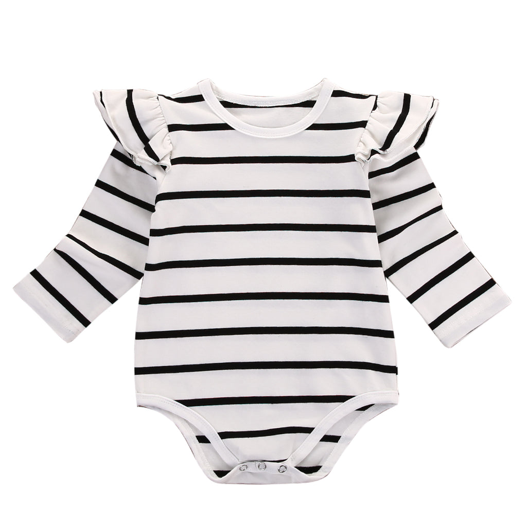 Striped Ruffles Baby Romper