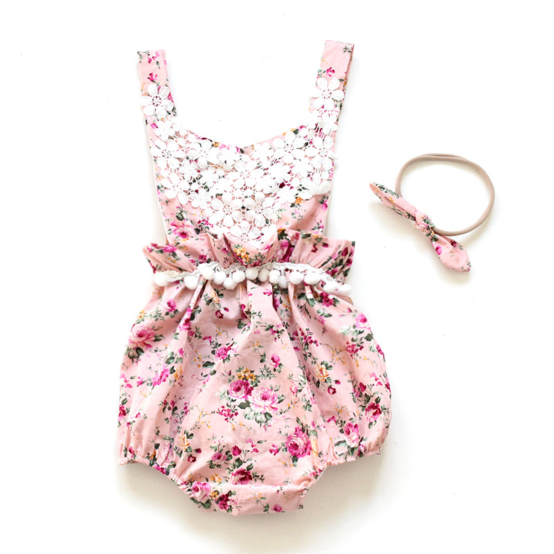 Summer Ruffled Flower Romper