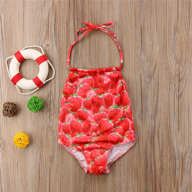 Baby Girls Strawberry Printed Swimsuit