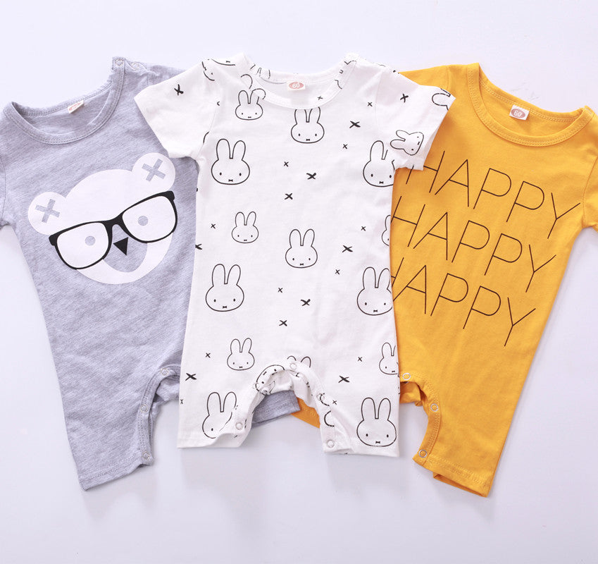 Baby Cartoon Short Sleeve Jumpsuit