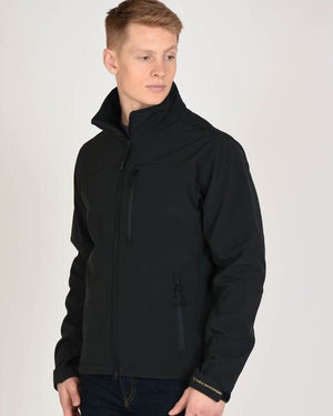Model Wearing Mens All Around Black Jacket with Zip Pockets and High Collar