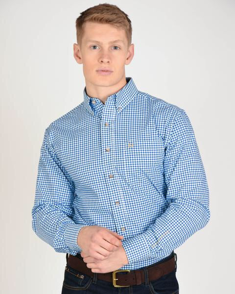 Traditions Long Sleeved Blue Small Plaid Shirt