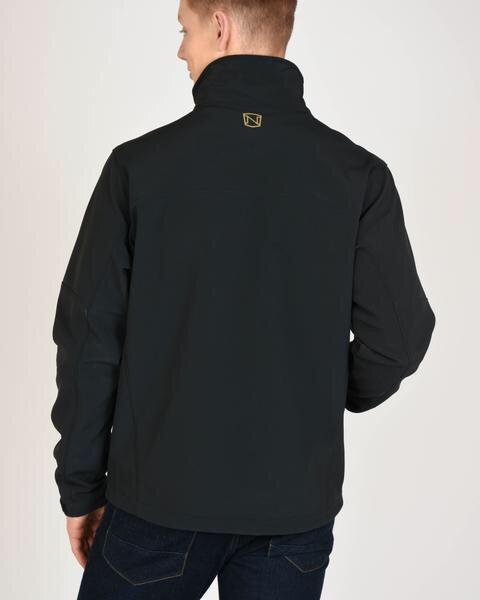 Rearview of Mens All Around Black Jacket Show Noble Outfitters Logo at Neck