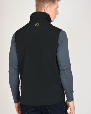 Rearview of Model Wearing Mens All Around Black Vest Showing Noble Outfitters Logo on Neck