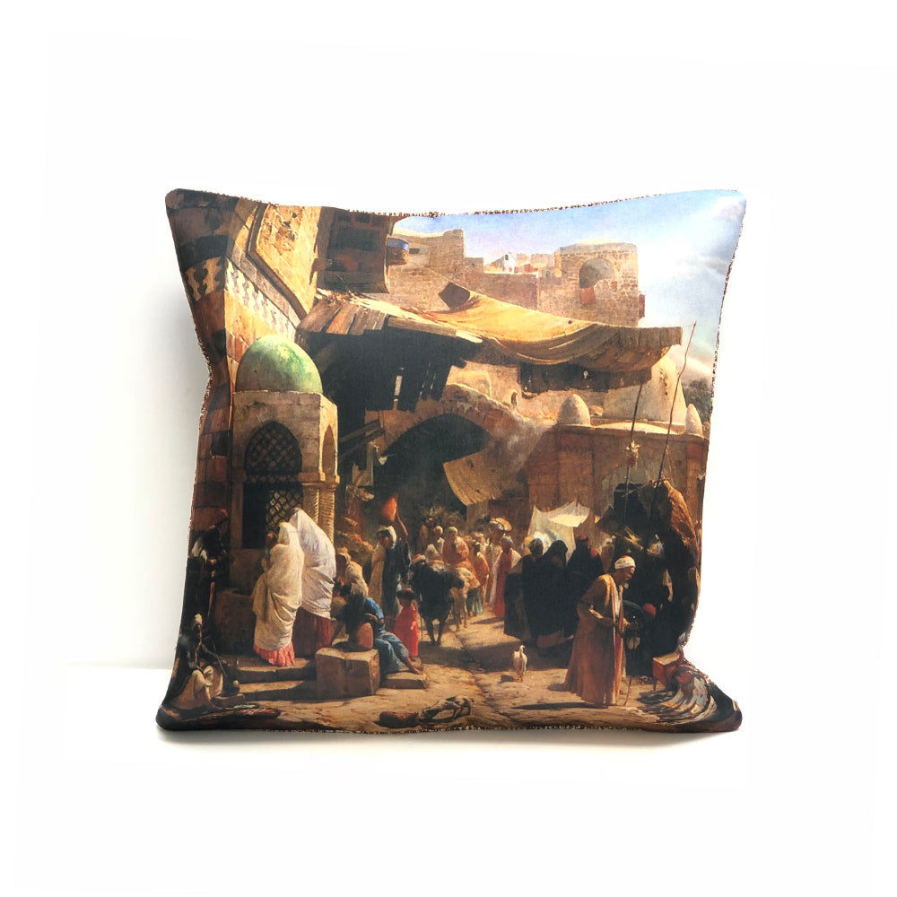 Turkish Cushion Cover - Bustling Market