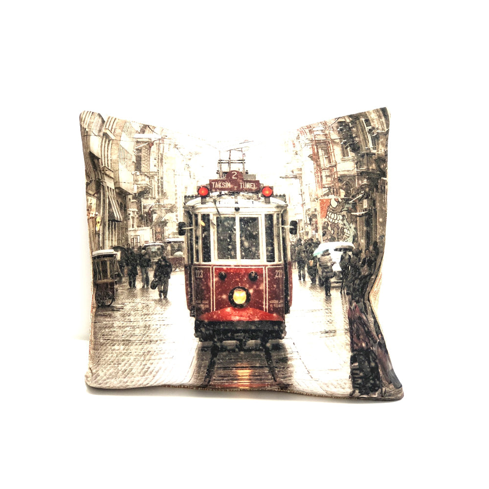 Turkish Cushion Cover - Train