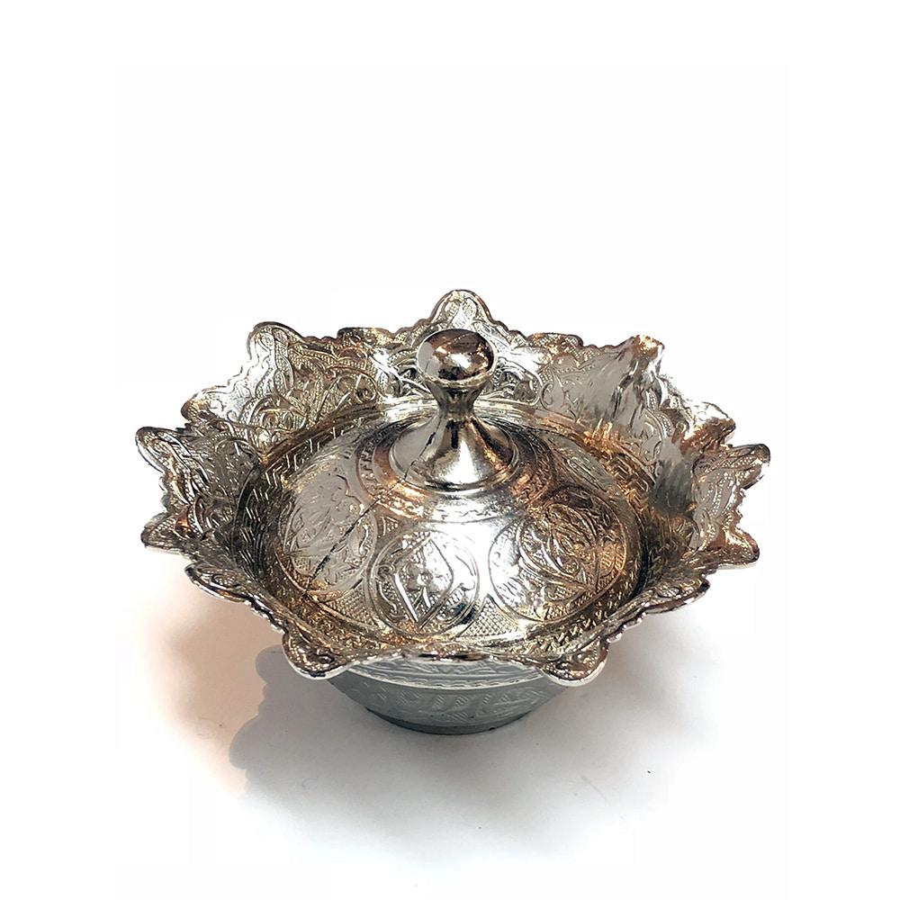 Zamac Round Turkish Delight Bowl - Silver