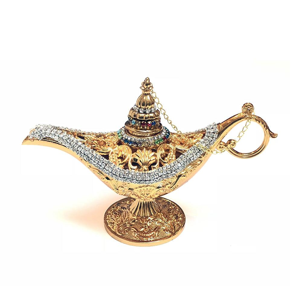 Magic Genie Aladdin Lamp With Crystals - Gold