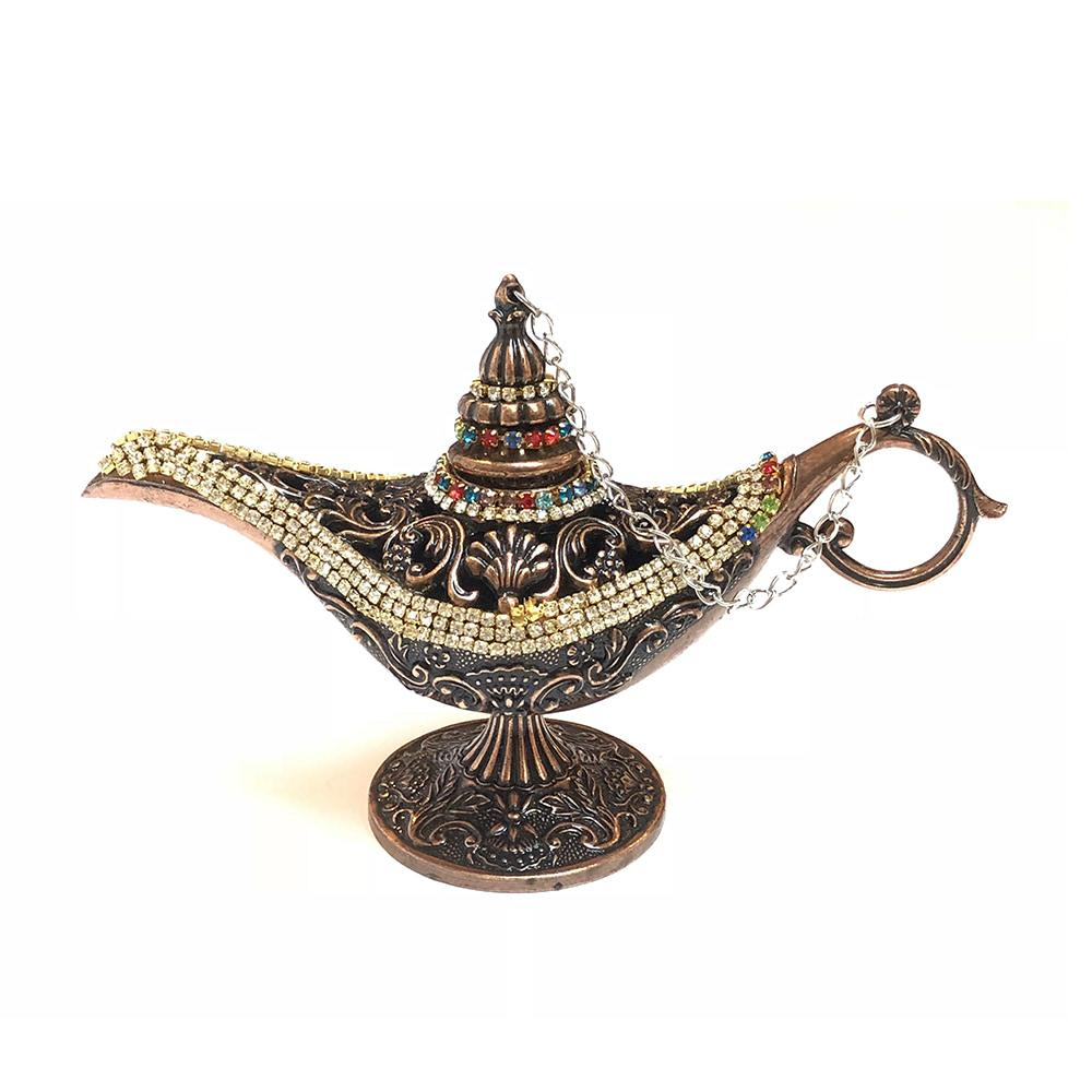 Magic Genie Aladdin Lamp With Crystals - Bronze
