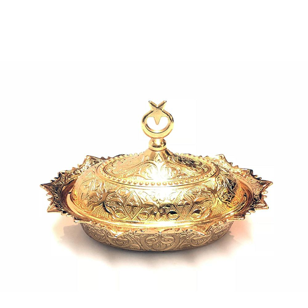 Oval Turkish Sugar Bowl - Gold