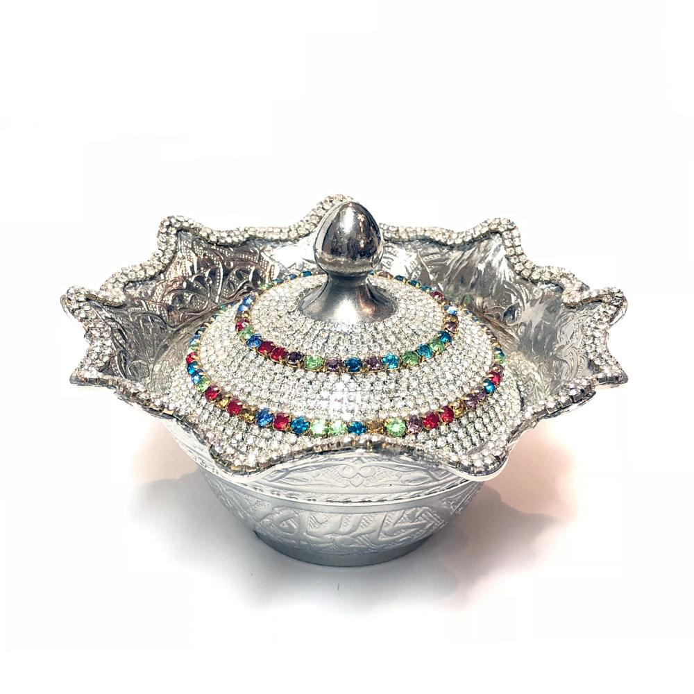 Turkish Sugar Bowl With Crystals - Multi-Colour
