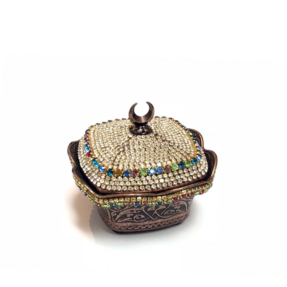 Square Turkish Sugar Bowl With Crystals - Bronze