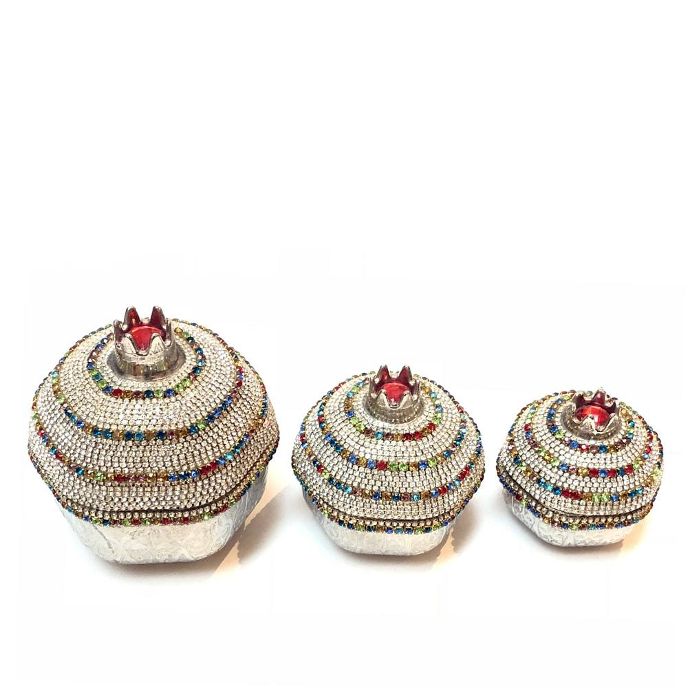 Crystal Coated Pomegranate Set Of 3
