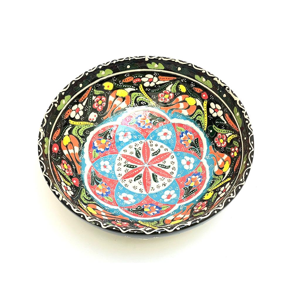 Medium Turkish Ceramic Hand Painted Bowl - 20 cm - Black style 1