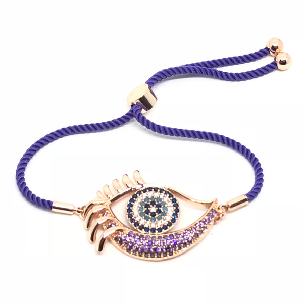 Purple Zirconia Nazar Eyes Adjustable Bracelet