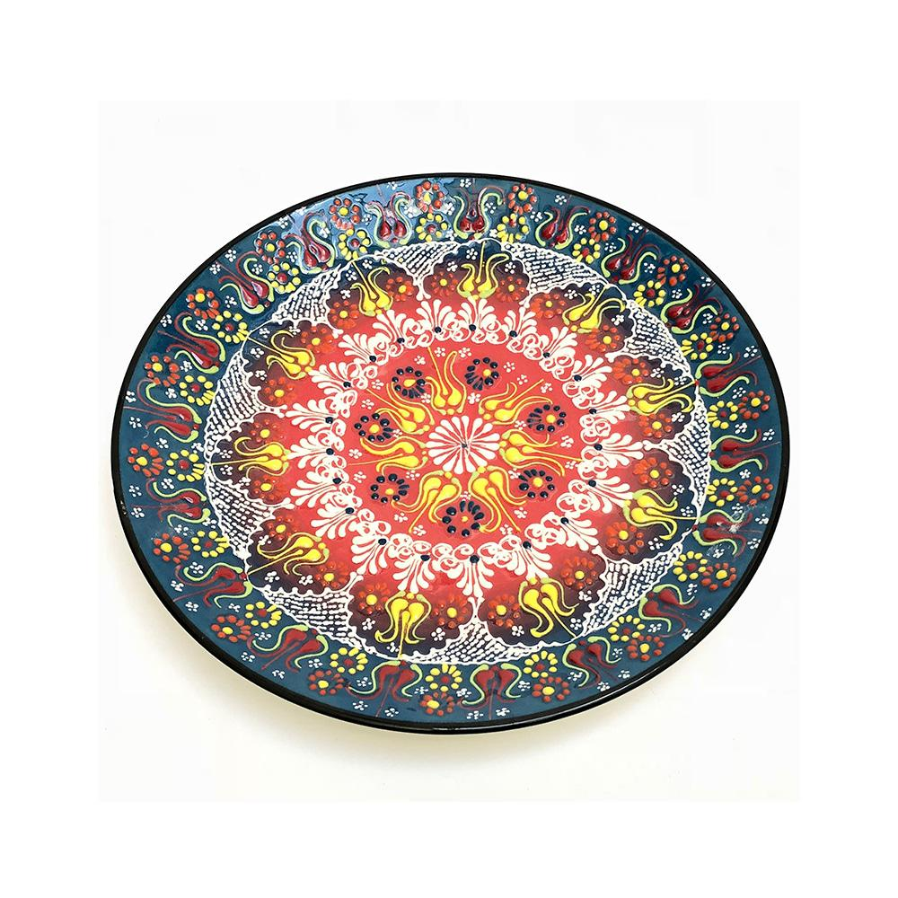 Turkish Ceramic Hand Painted Plate - 25 cm - Blue Style 2