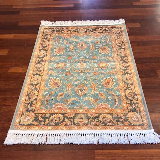 Turquoise Classic Vintage  Silk Area Rug 75x11cm