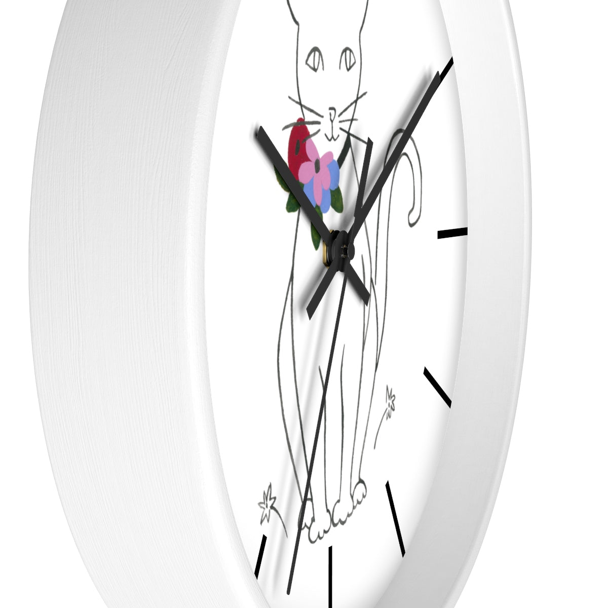 """Like Matisse (Cat)"" Wall Clock w/ Hour Seperators"