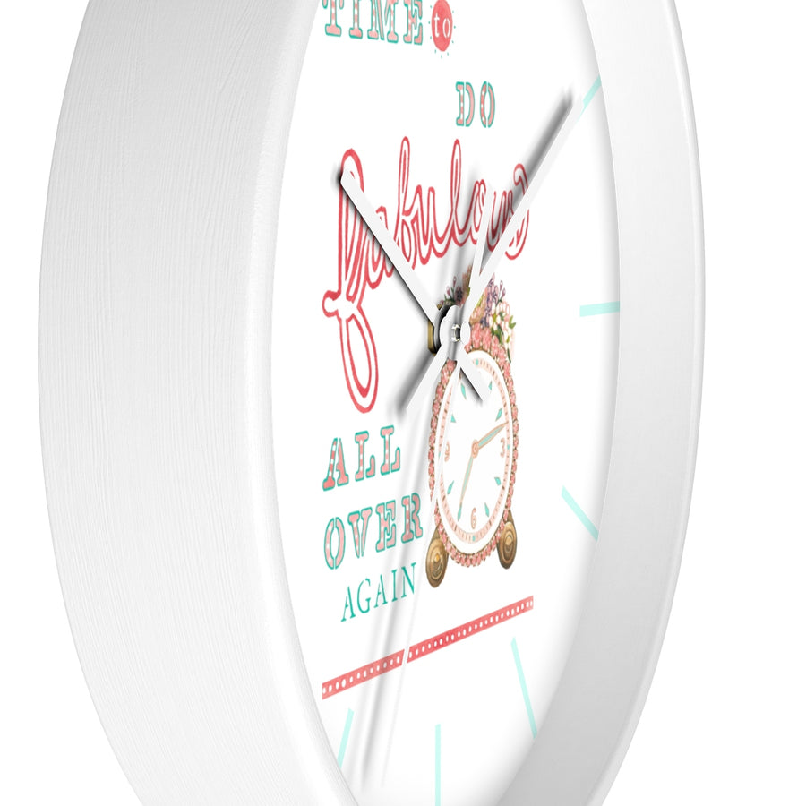 """Time to Do Fabulous"" Wall Clock (w/ hour separators)"