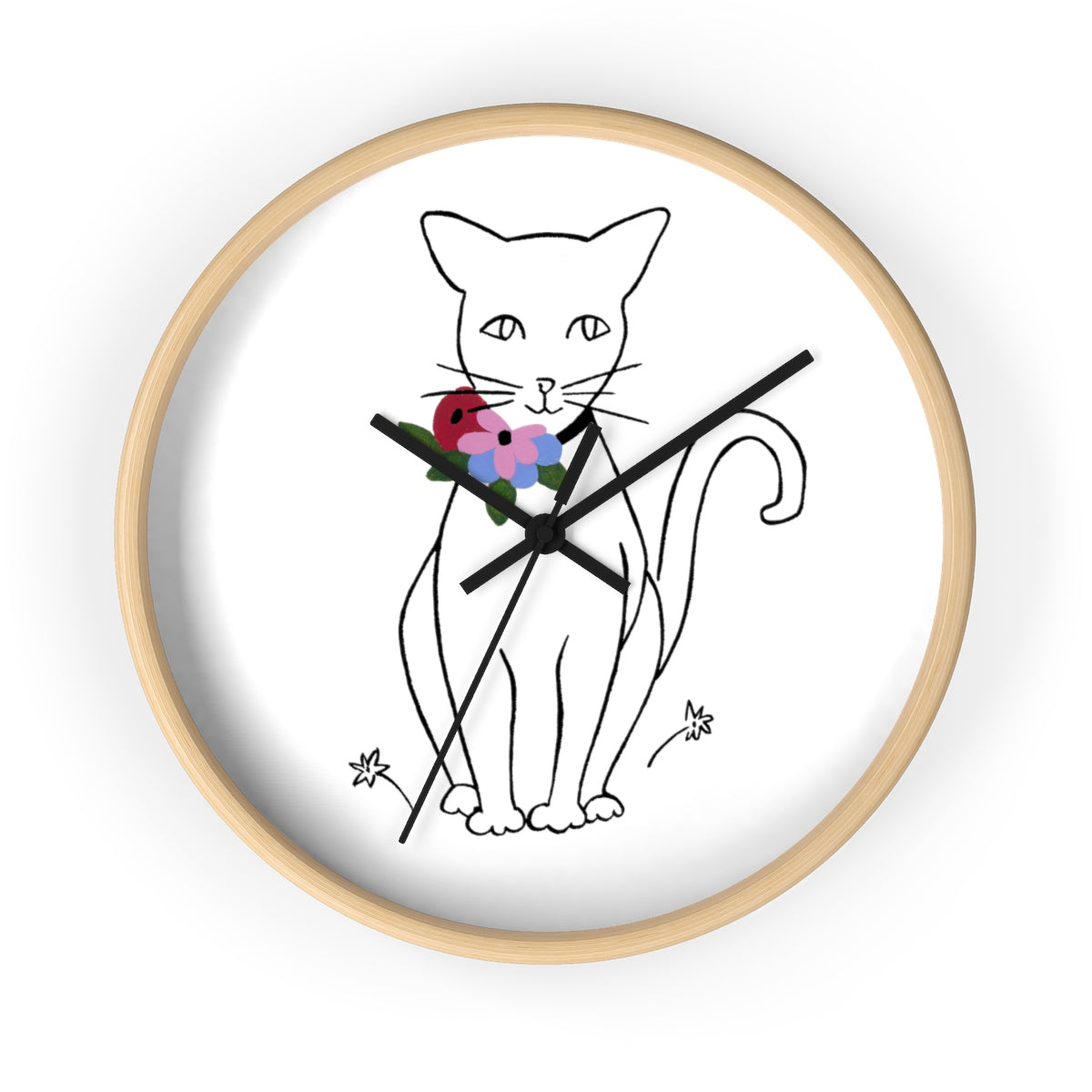 """Like Matisse (Cat)""  Wall Clock w/o Hour Separators"