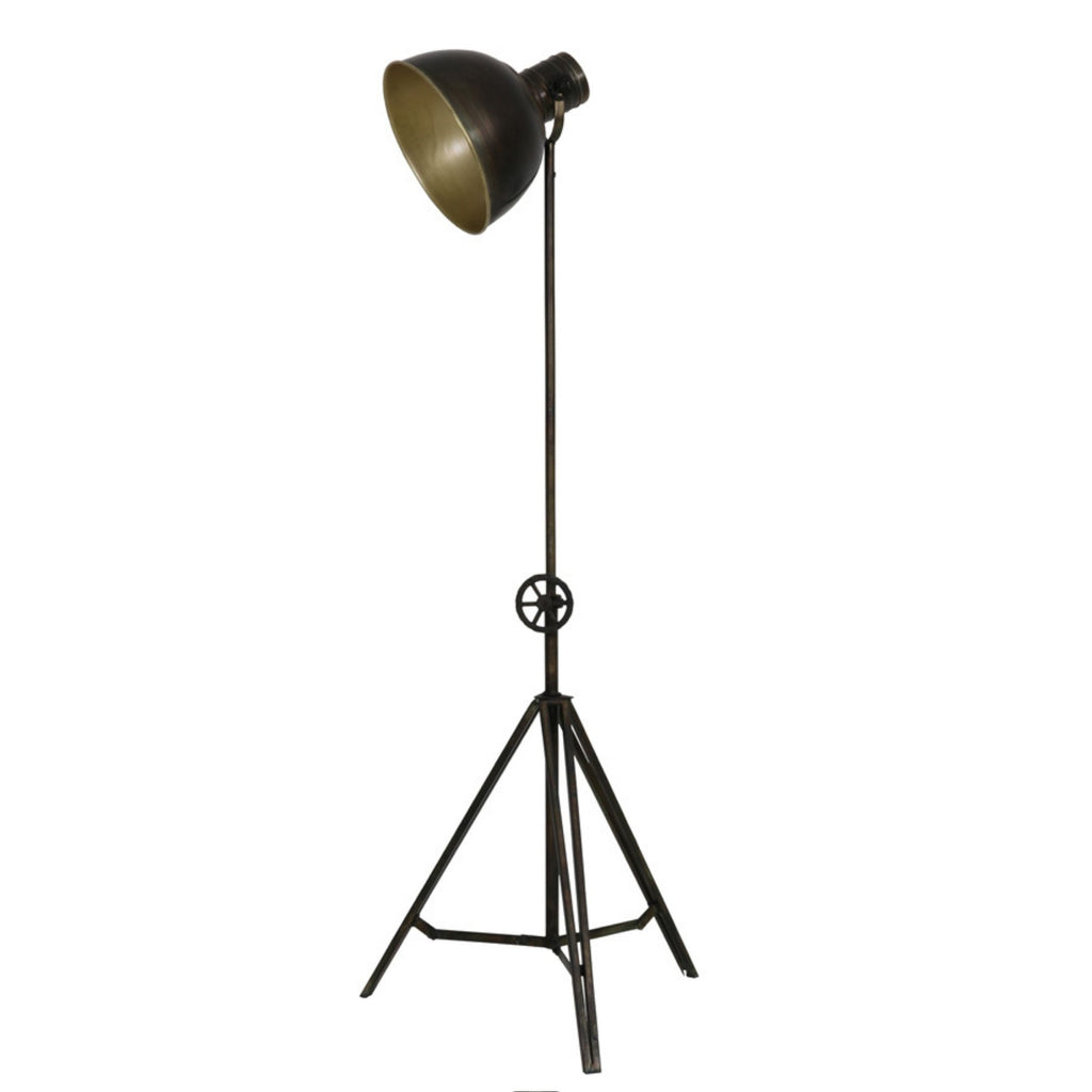 Gulvlampe - Messing - Hæve/sænke - Antique Brass