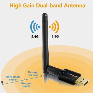 Wifi Adapter Ac 600Mbps Dual Band 5Ghz / 2.4Ghz Long Range