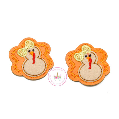Turkey Girl with Bow Felt Applique, Set of 2, Thanksgiving Felties, Hair Bow Supplies, DIY Crafts, C179