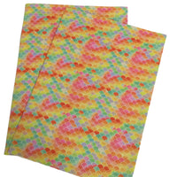 ORANGE/YELLOW MERMAID Fine Glitter Canvas Sheets, Glitter Faux Leather, Vinyl Fabric Sheet, 7 x 13 Faux Leather, 376