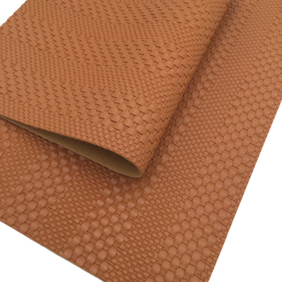 CARAMEL Basket Weave Faux Leather Sheet, Faux Leather, Textured Leather, Vegan Leather, PVC Material, Leather for Earrings