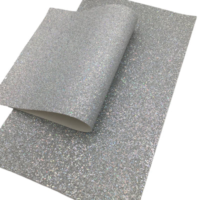 COSMIC SILVER FINE Glitter Canvas Sheets, Premium Chunky Glitter Fabric, Fabric for Bows